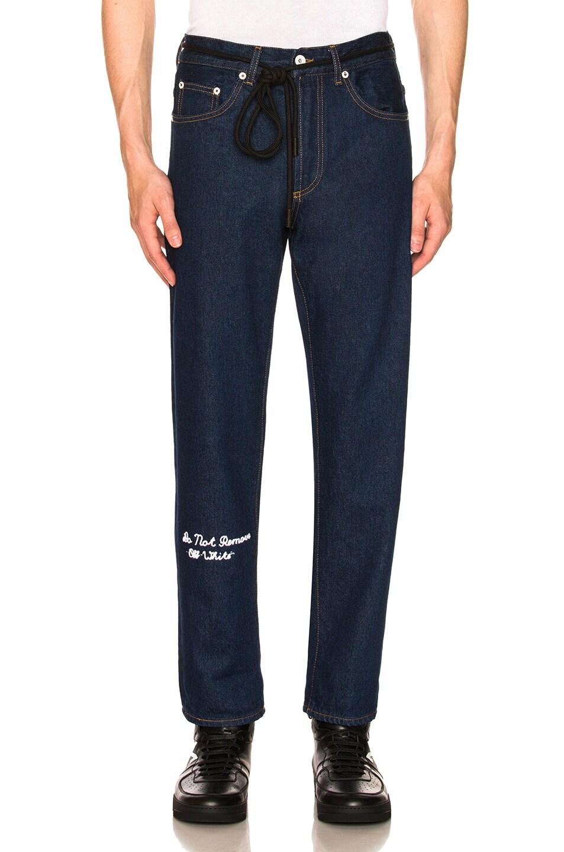 Image 1 of OFF-WHITE No Wash Medium 5 Pocket Jeans in Dark Blue
