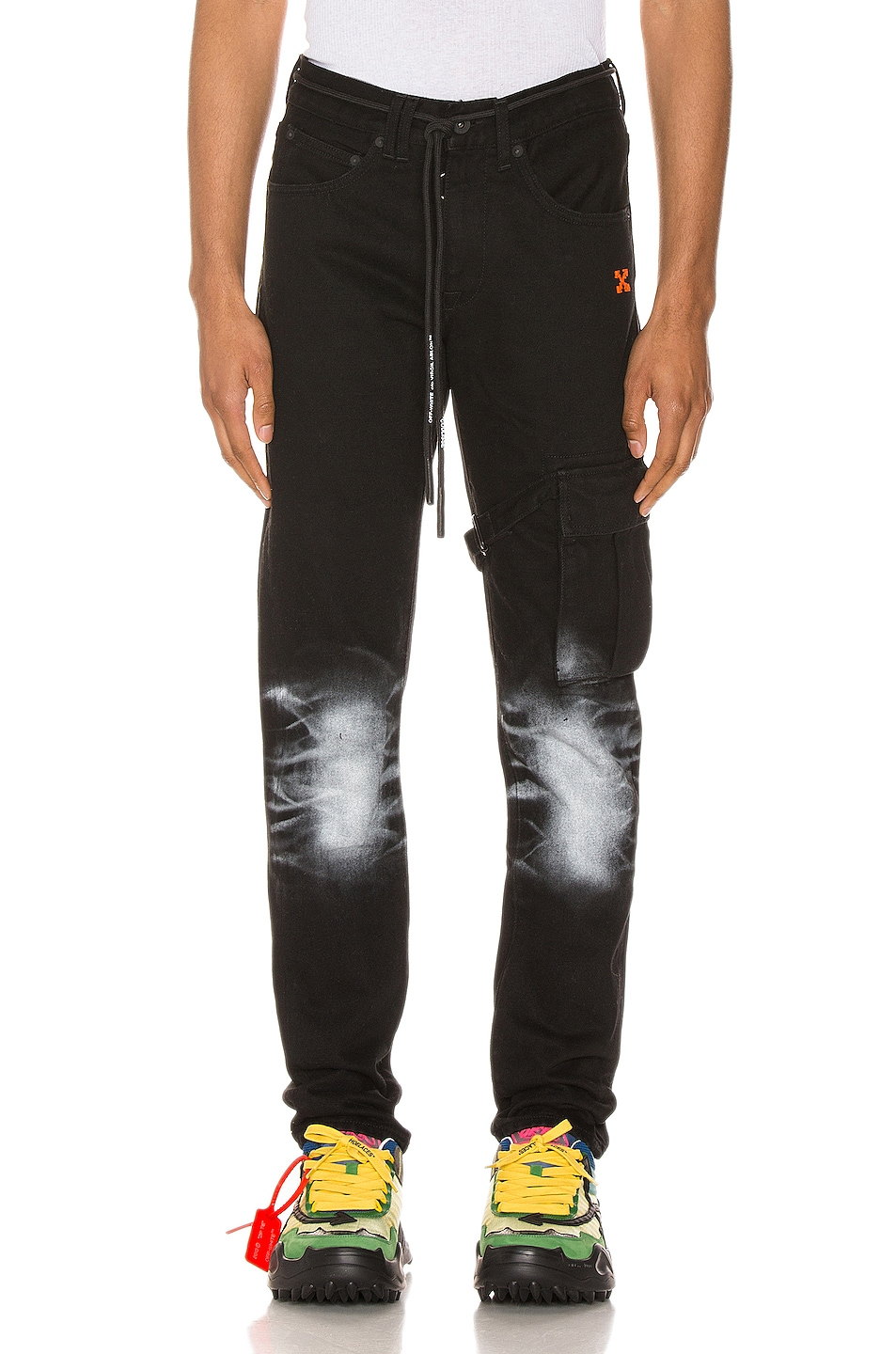 Image 1 of OFF-WHITE Slim Asymmetric Jeans in Black