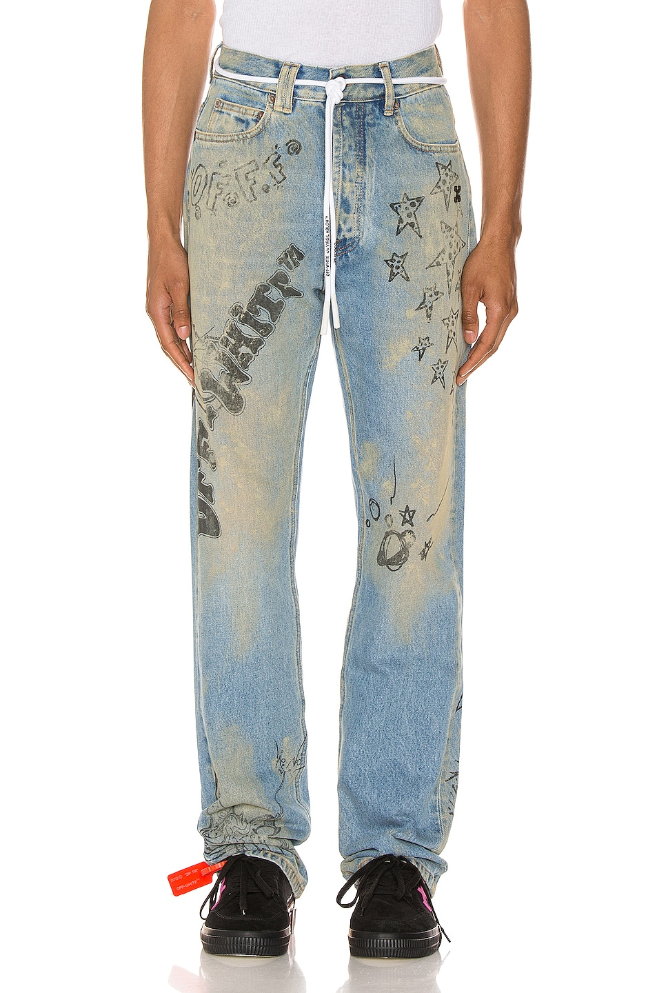 Image 1 of OFF-WHITE Wizard Relaxed Fit Jeans in Extreme Bleach