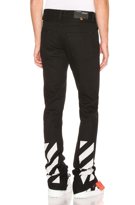 Image 1 of OFF-WHITE Slim Split Jeans in Black & White