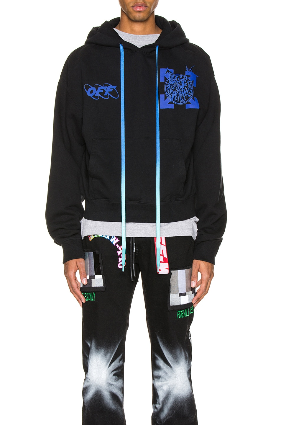 Image 1 of OFF-WHITE Wizard & Cat Hoodie in Black & Blue