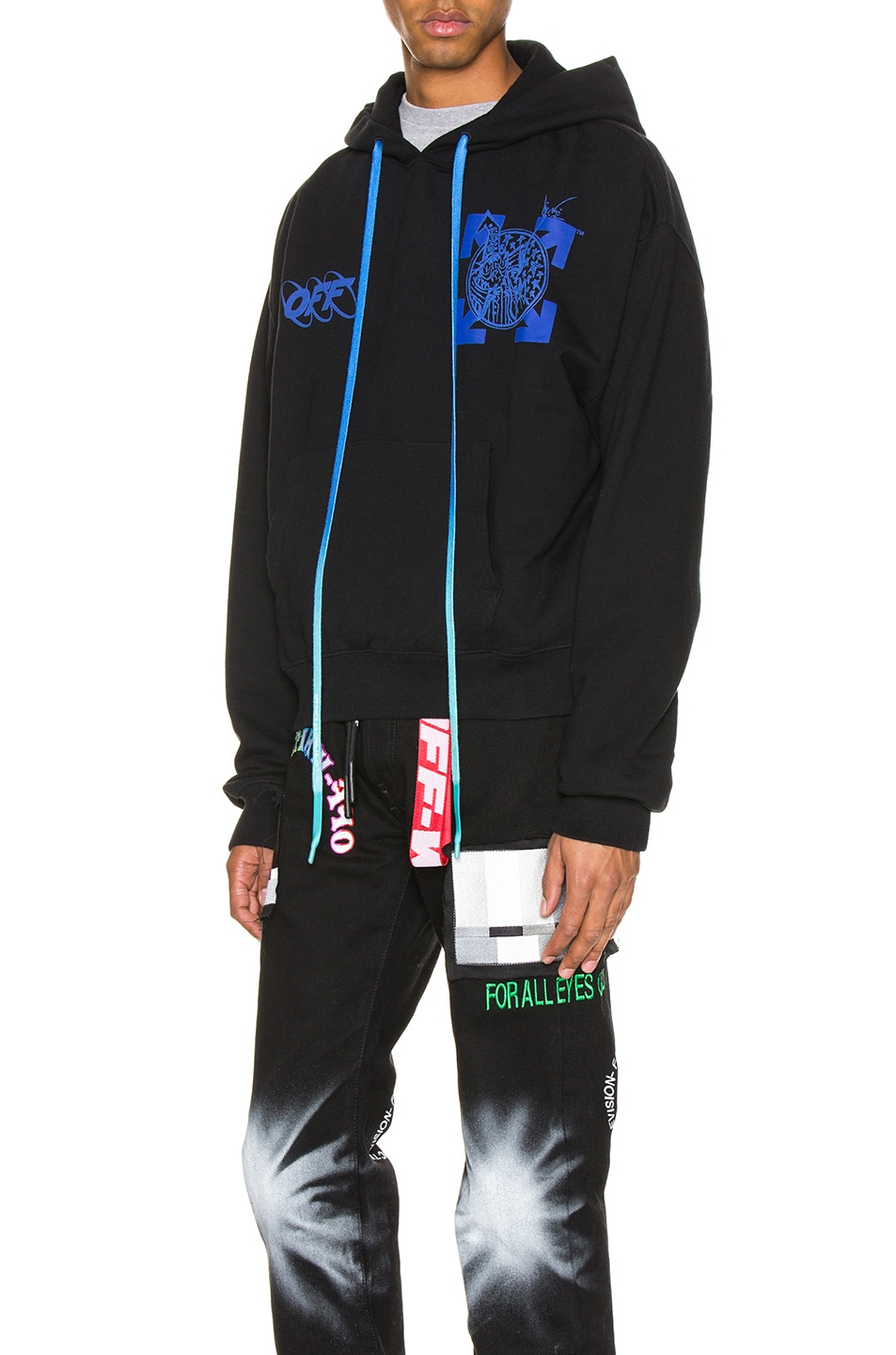 Image 3 of OFF-WHITE Wizard & Cat Hoodie in Black & Blue