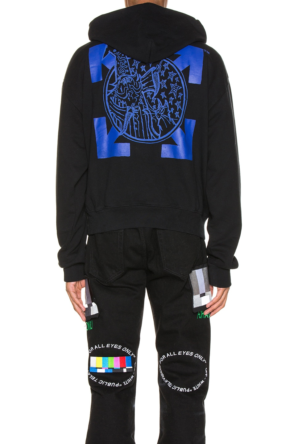 Image 4 of OFF-WHITE Wizard & Cat Hoodie in Black & Blue