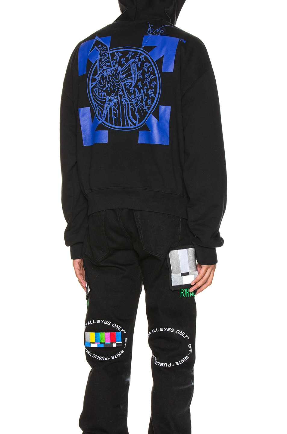 Image 5 of OFF-WHITE Wizard & Cat Hoodie in Black & Blue