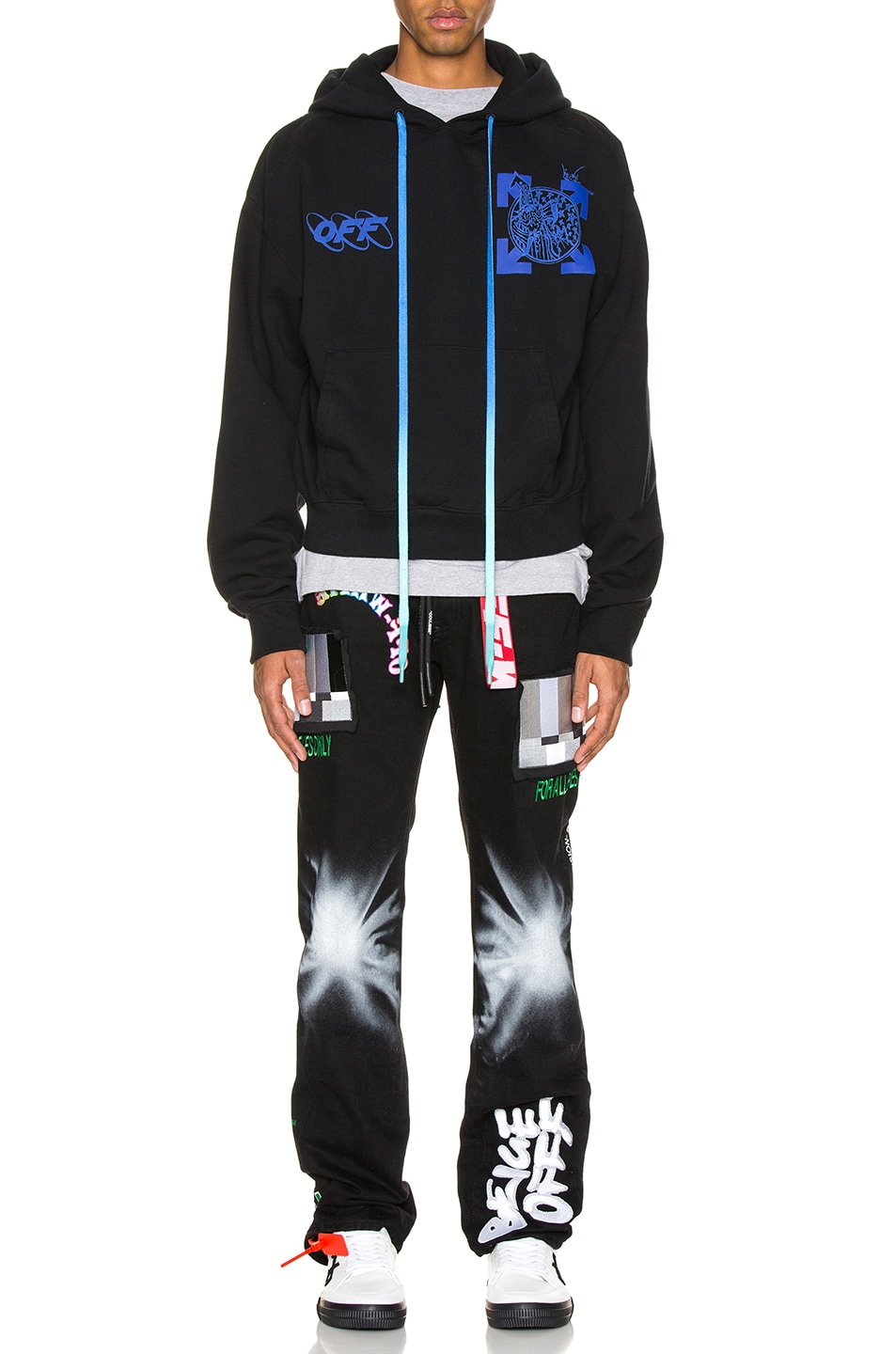 Image 6 of OFF-WHITE Wizard & Cat Hoodie in Black & Blue