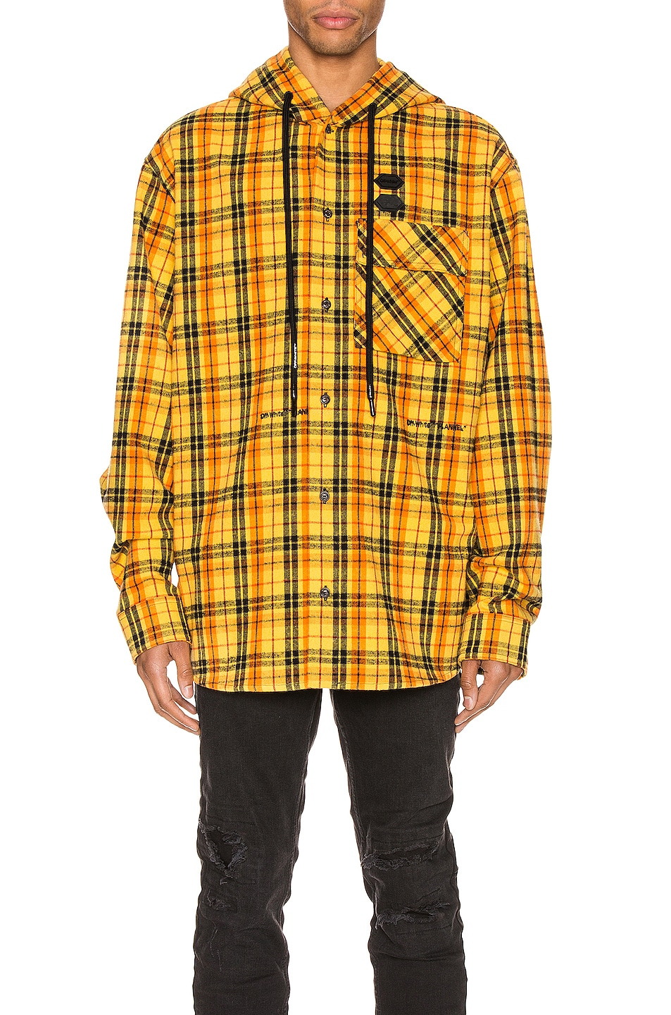 Image 2 of OFF-WHITE Hoodie Check Shirt in Yellow