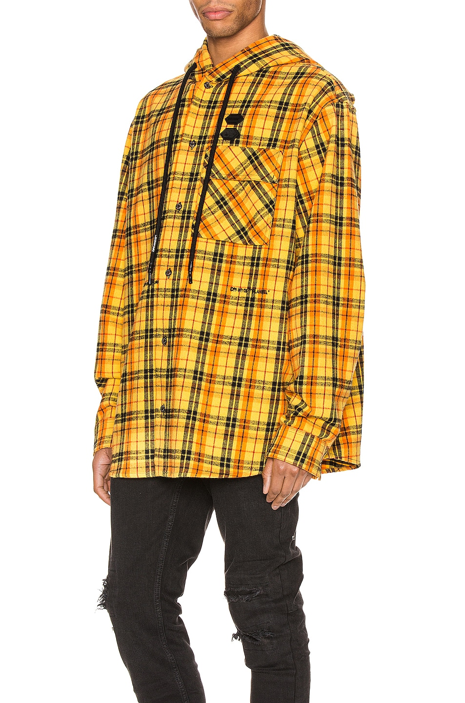 Image 4 of OFF-WHITE Hoodie Check Shirt in Yellow