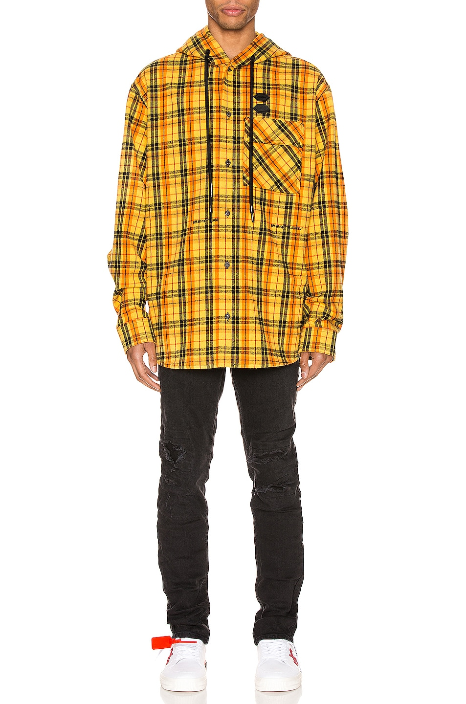 Image 6 of OFF-WHITE Hoodie Check Shirt in Yellow