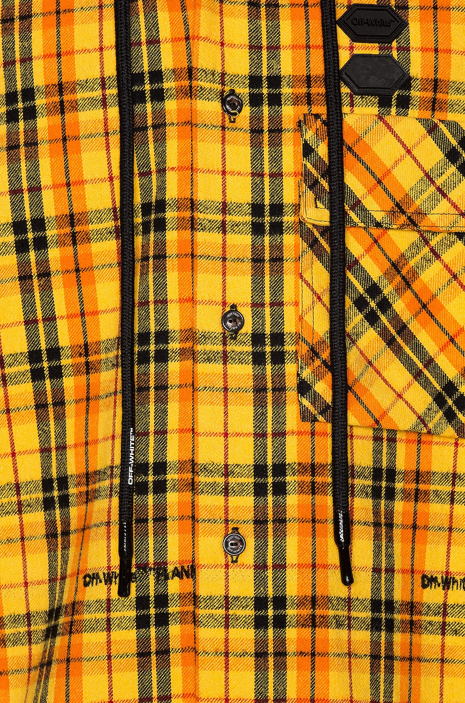 Image 7 of OFF-WHITE Hoodie Check Shirt in Yellow