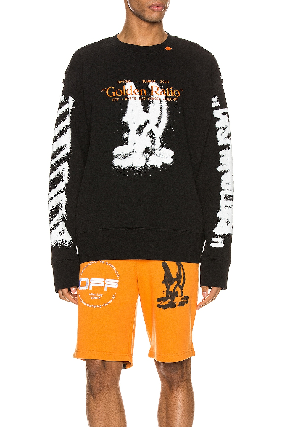 Image 2 of OFF-WHITE Cartoon Incompiuto Crewneck in Black & White