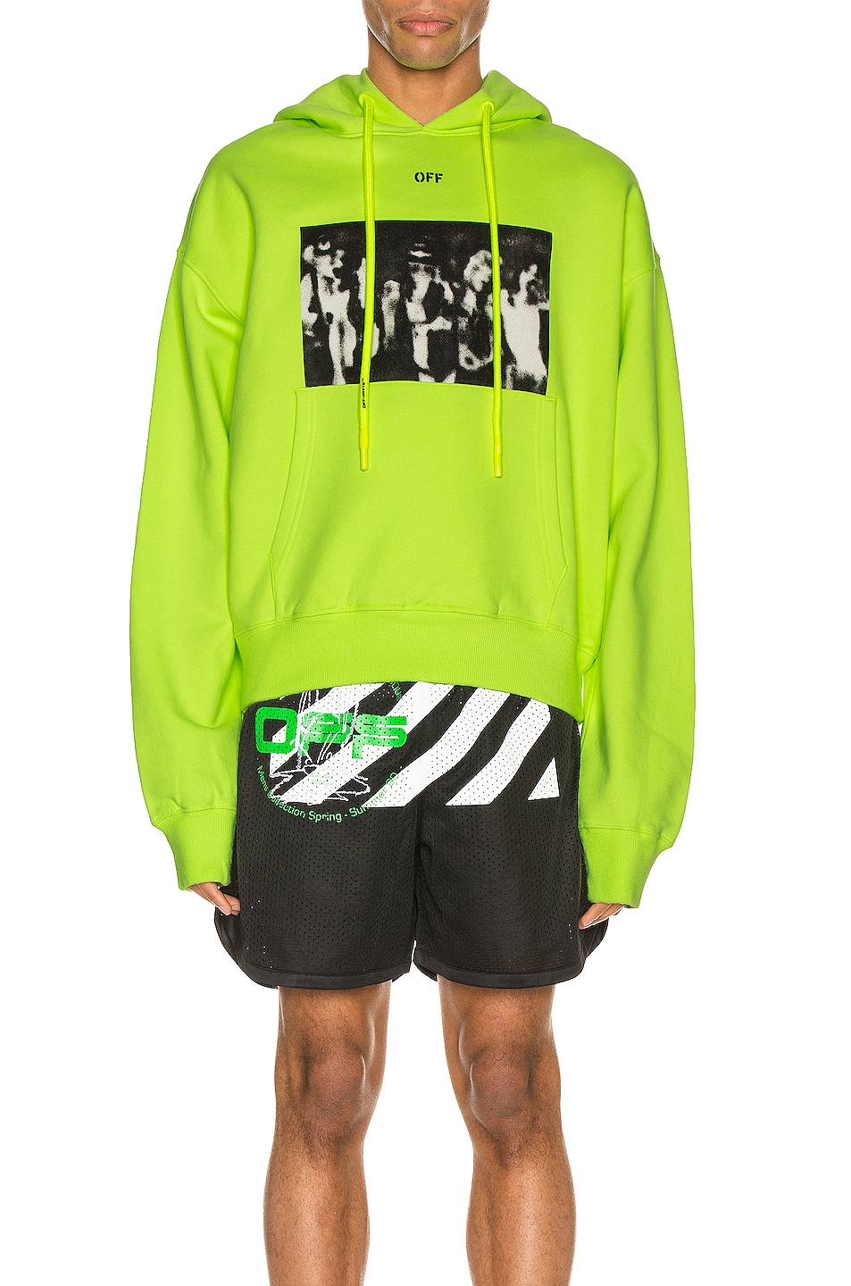 Image 1 of OFF-WHITE Spray Painting Over Hoodie in Fluo Yellow