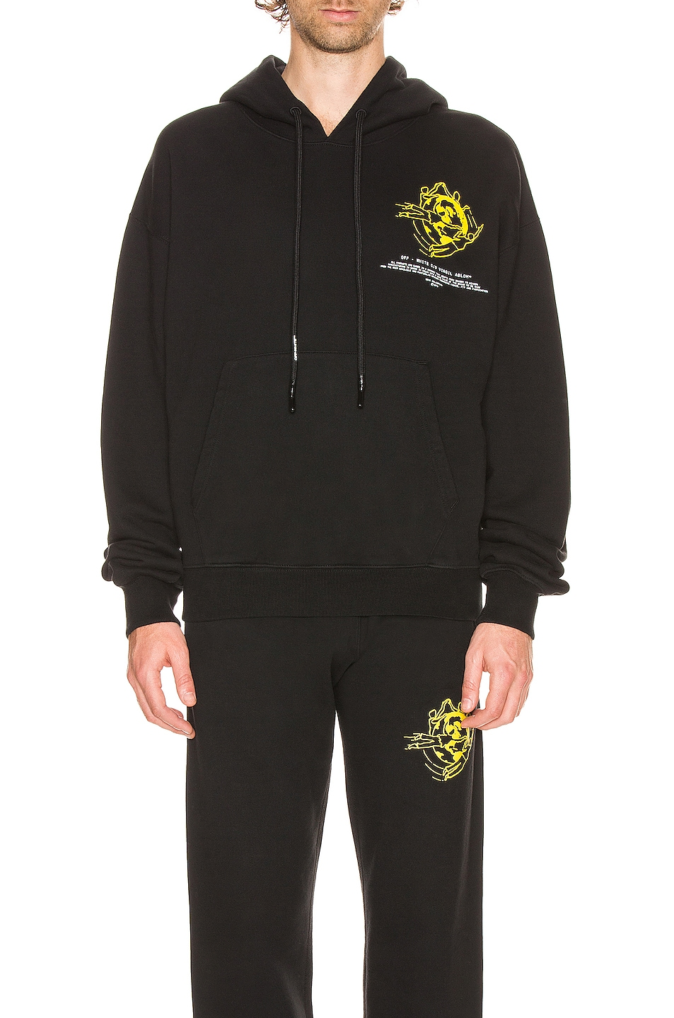 Image 1 of OFF-WHITE Multi Symbols Hoodie in Black & Yellow
