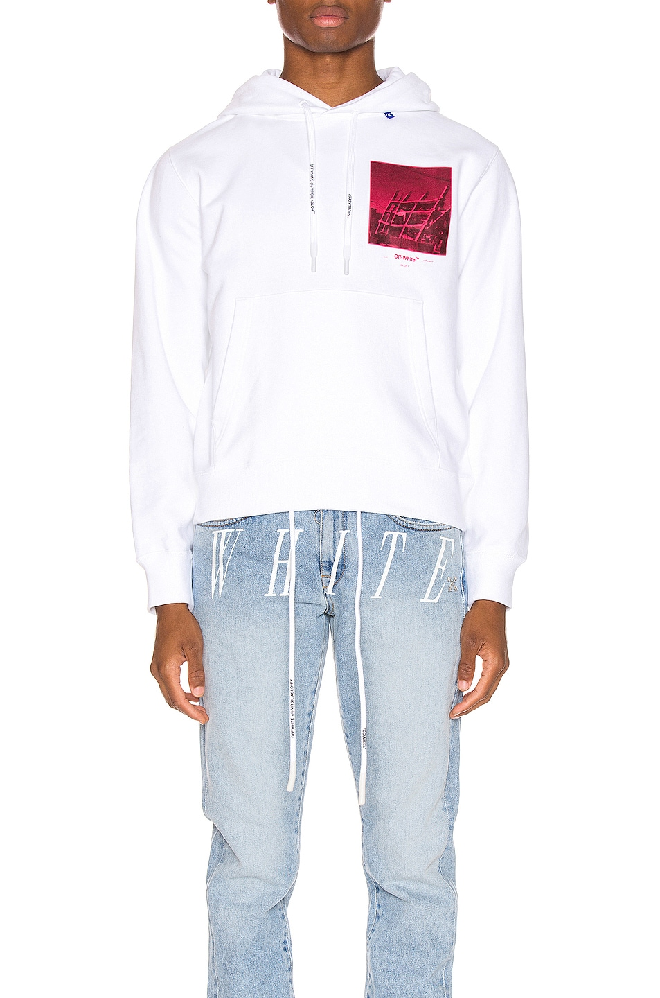 Image 1 of OFF-WHITE Halftone Arrows Hoodie in White & Fuchsia