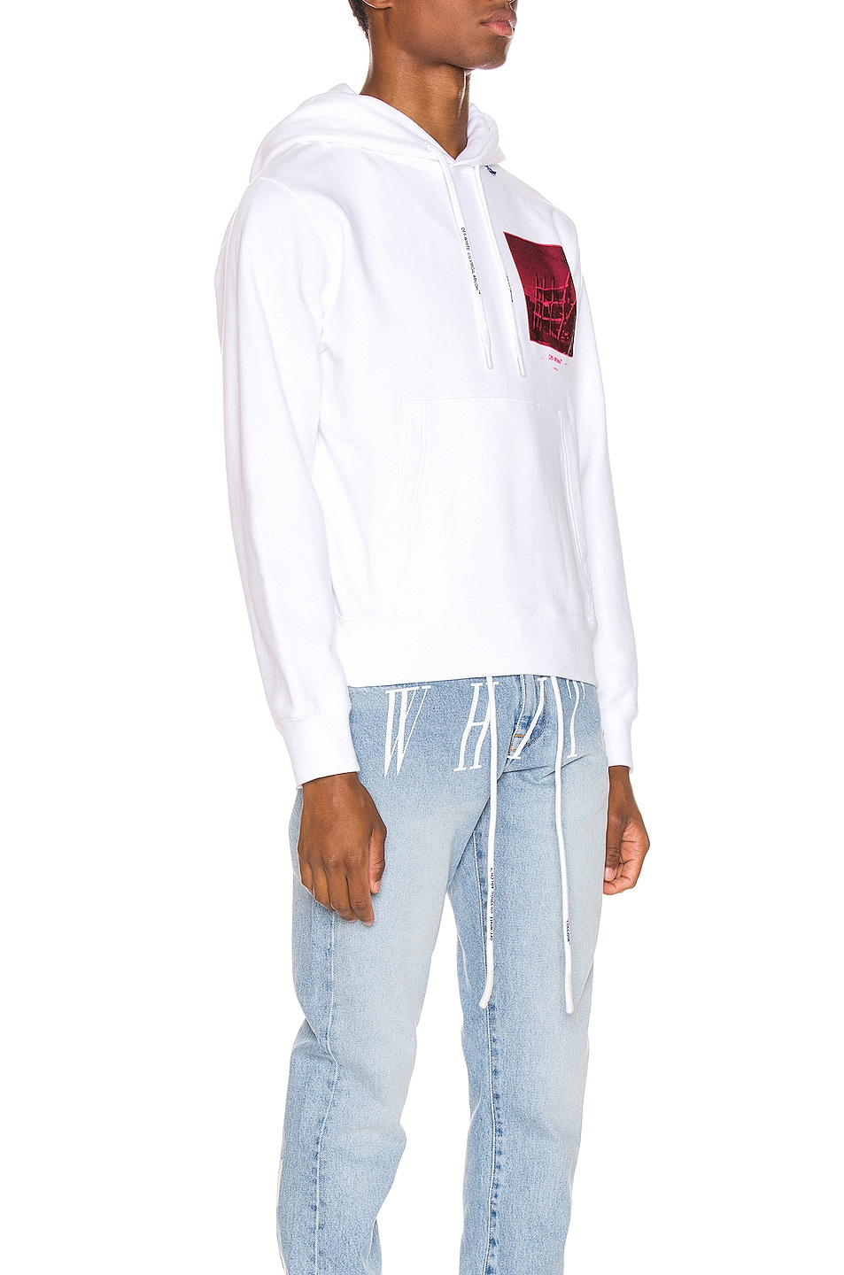 Image 2 of OFF-WHITE Halftone Arrows Hoodie in White & Fuchsia