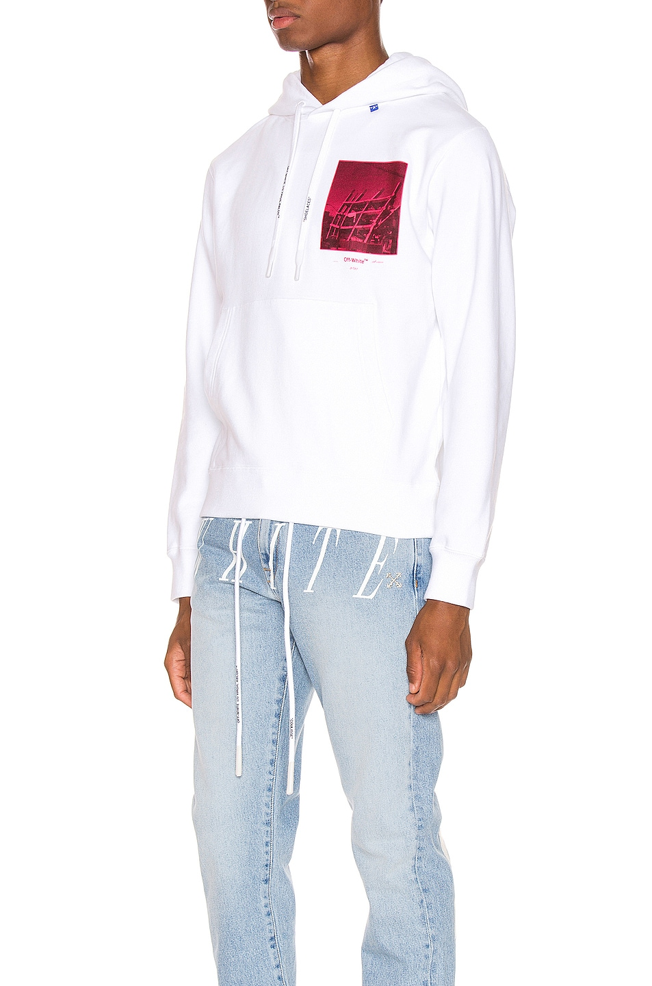 Image 3 of OFF-WHITE Halftone Arrows Hoodie in White & Fuchsia