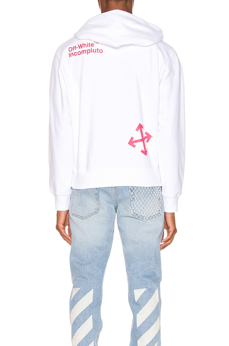 Image 4 of OFF-WHITE Halftone Arrows Hoodie in White & Fuchsia