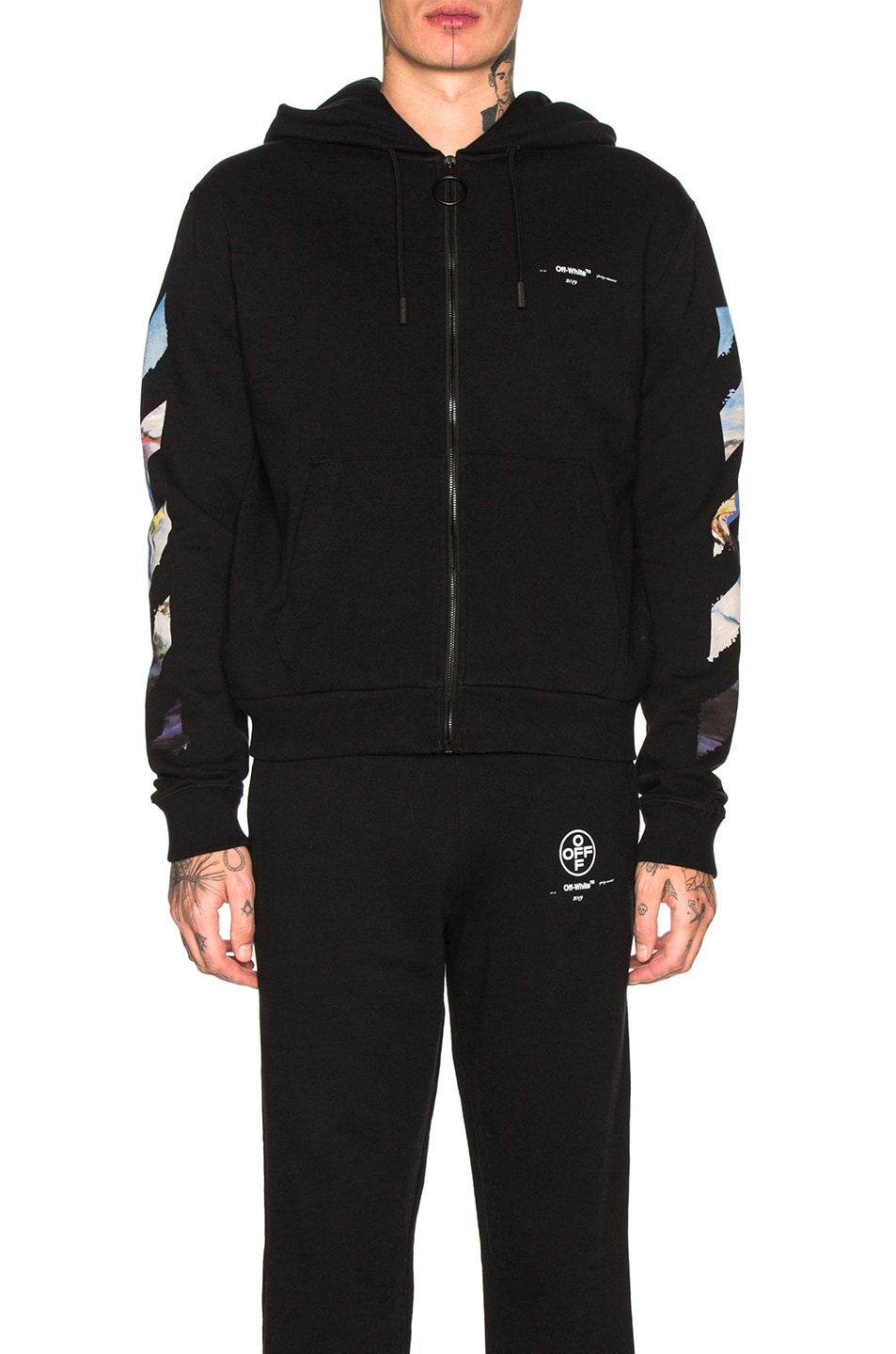 Image 2 of OFF-WHITE Diagonal Colored Arrow Zip Hoodie in Black Multi