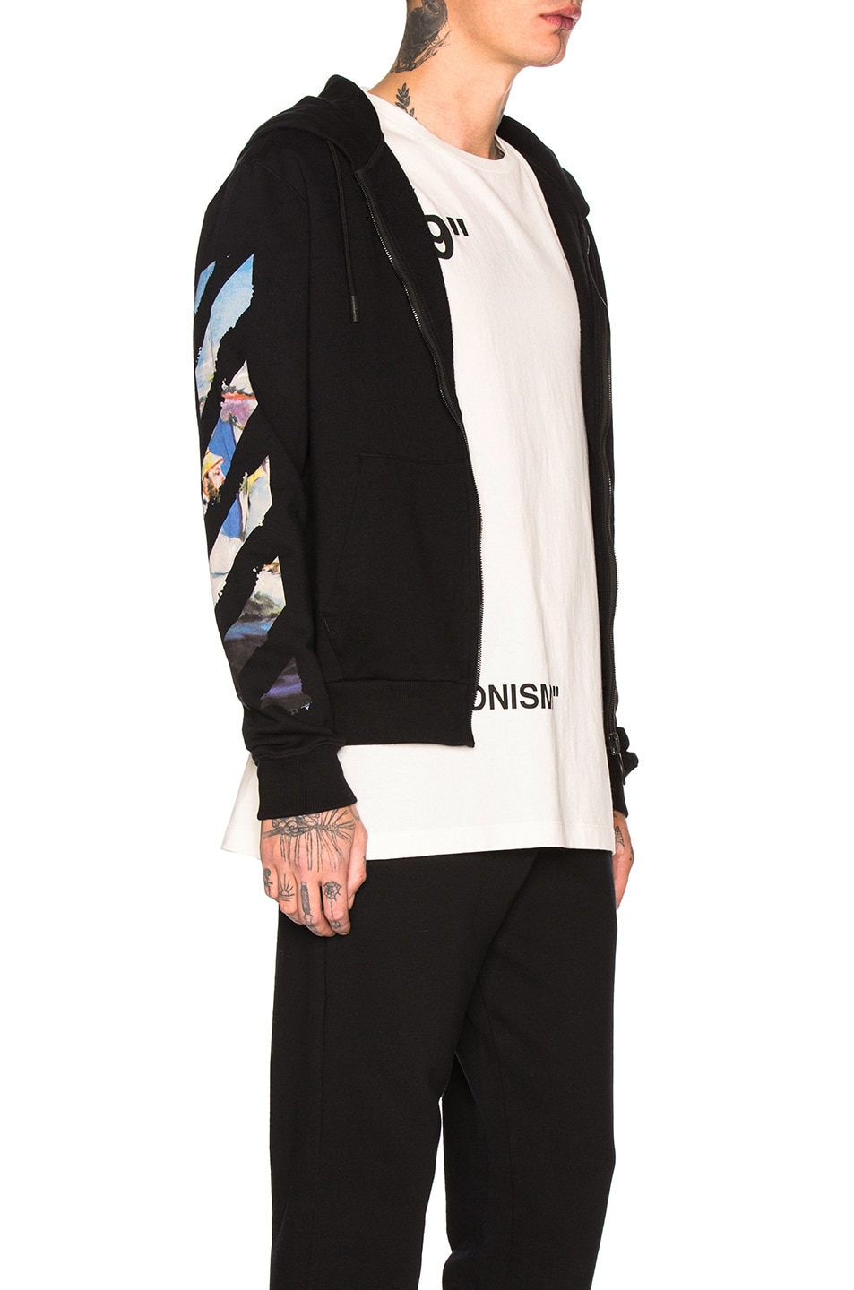 Image 3 of OFF-WHITE Diagonal Colored Arrow Zip Hoodie in Black Multi