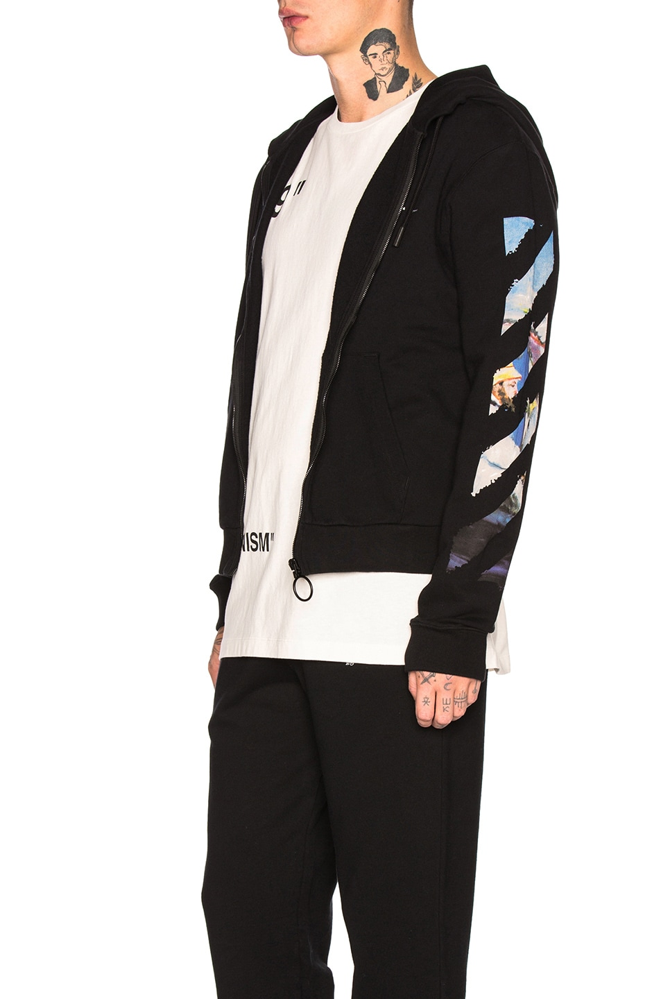 Image 4 of OFF-WHITE Diagonal Colored Arrow Zip Hoodie in Black Multi