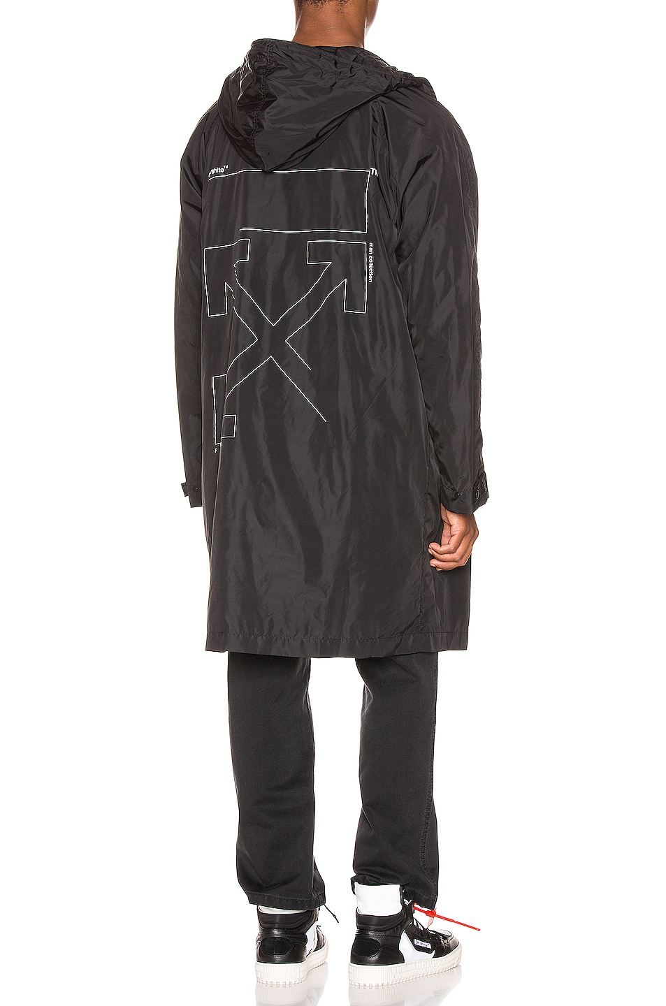 Image 1 of OFF-WHITE Unfinished Raincoat in Black & Silver
