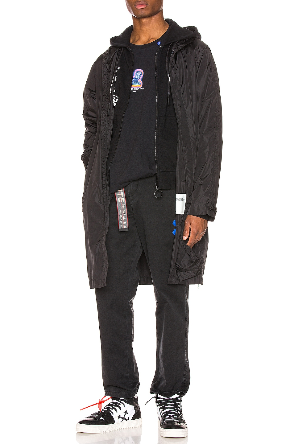 Image 2 of OFF-WHITE Unfinished Raincoat in Black & Silver