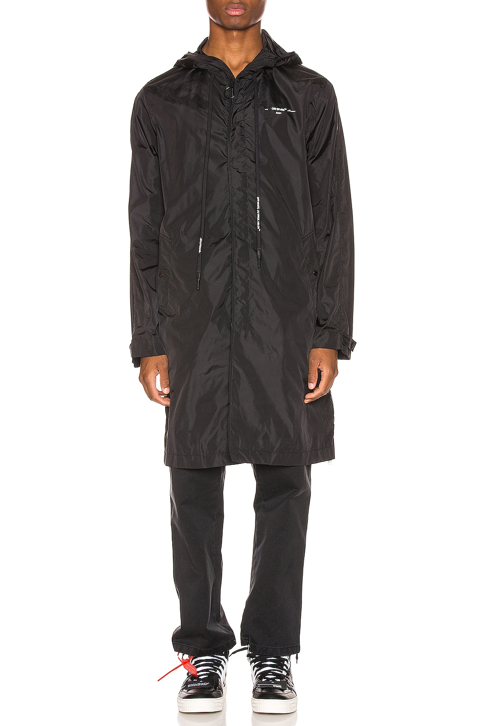 Image 3 of OFF-WHITE Unfinished Raincoat in Black & Silver