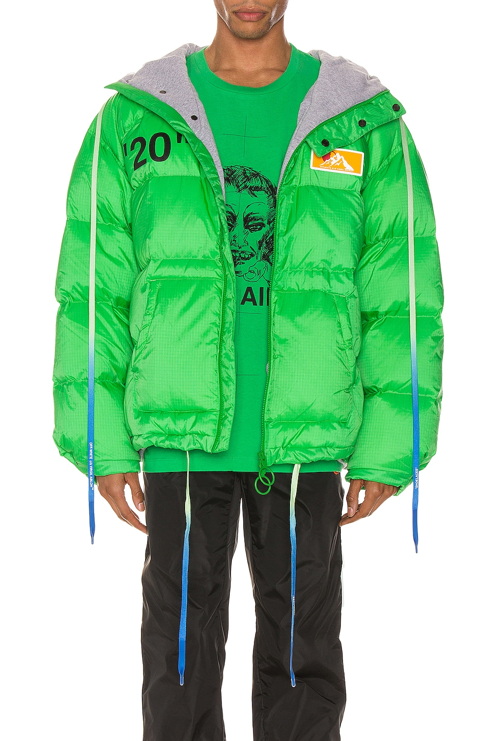Image 1 of OFF-WHITE Zipped Puffer in Green & Black