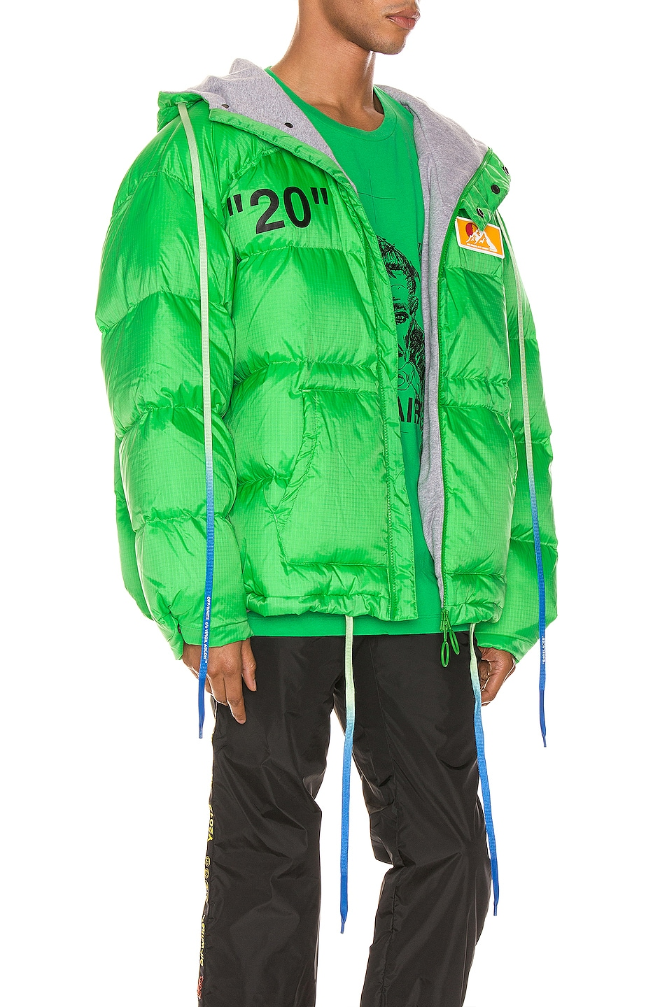 Image 3 of OFF-WHITE Zipped Puffer in Green & Black