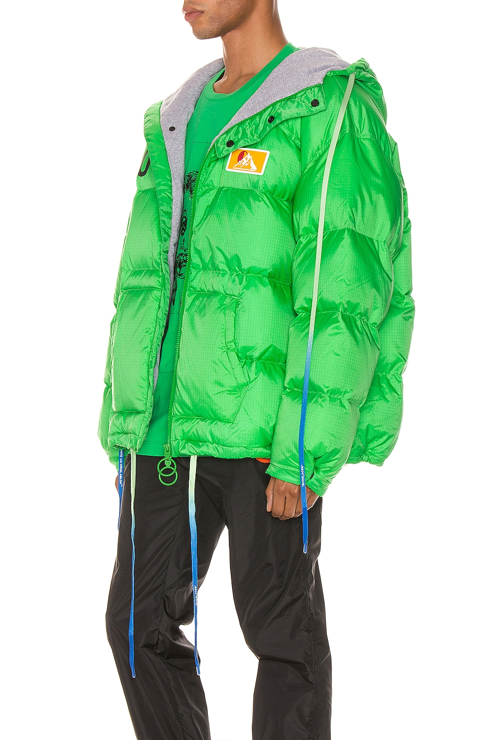 Image 4 of OFF-WHITE Zipped Puffer in Green & Black