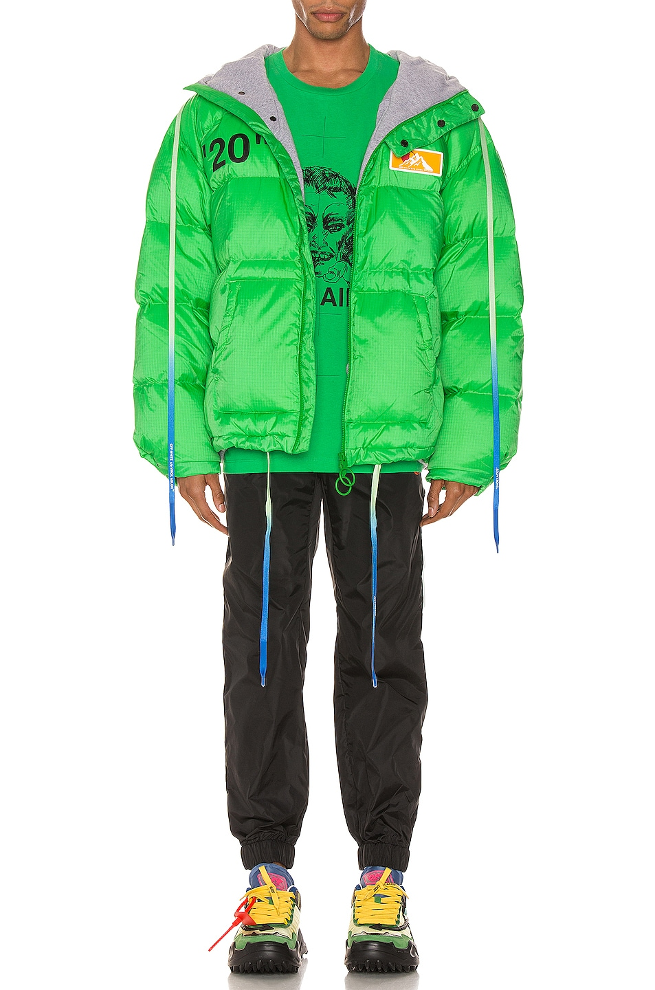 Image 6 of OFF-WHITE Zipped Puffer in Green & Black