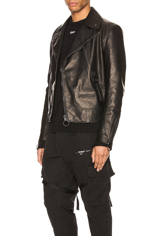 Image 4 of OFF-WHITE Leather Biker Jacket in Black
