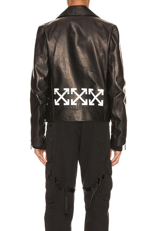 Image 5 of OFF-WHITE Leather Biker Jacket in Black