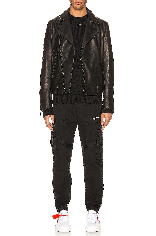 Image 6 of OFF-WHITE Leather Biker Jacket in Black