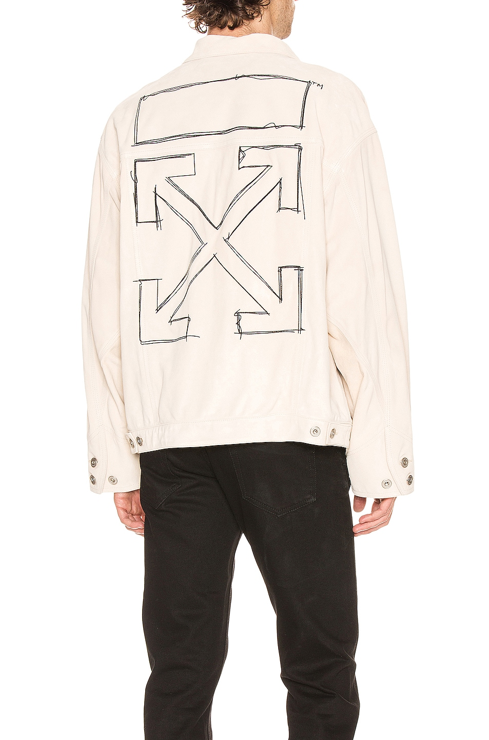 Image 1 of OFF-WHITE Taft Point Leather Jacket in Sand & Black