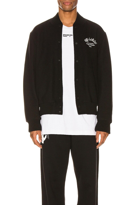 Image 1 of OFF-WHITE Arrow Varsity Jacket in Black & White