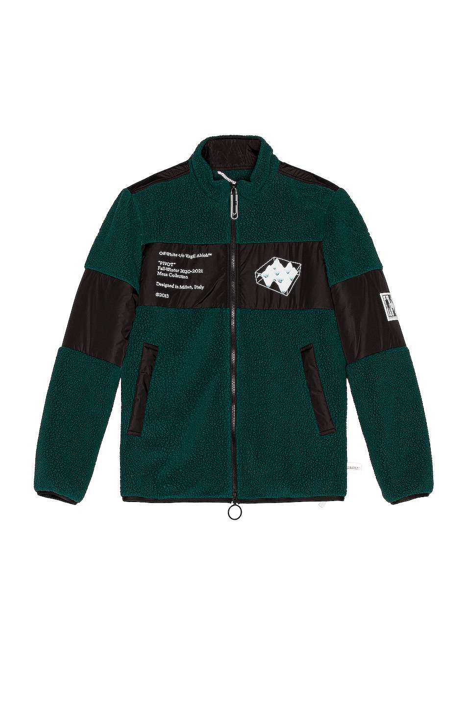 Image 1 of OFF-WHITE Polar Fleece Jacket in Dark Green & White