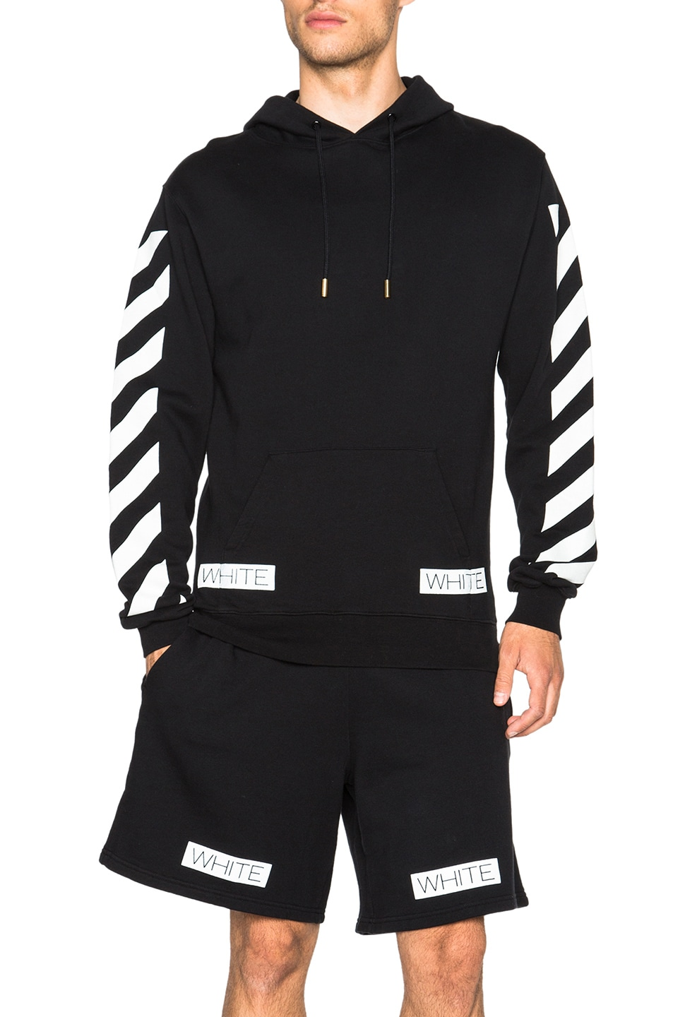Image 1 of OFF-WHITE Blue Collar Hooded Sweatshirt in Black dc7435e13
