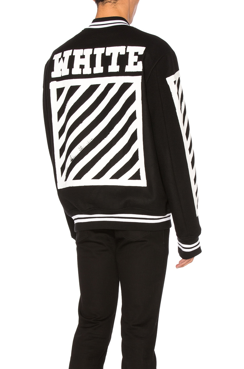 Image 1 of OFF-WHITE Diagonals Varsity Jacket in Black   White 31d8a499dcee