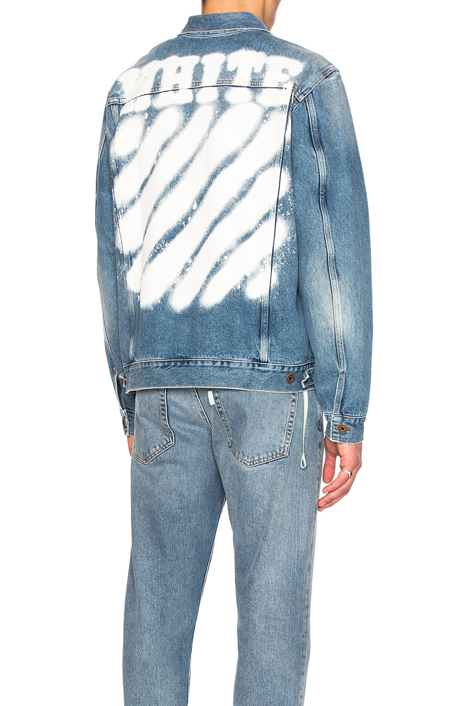 Off White Diagonal Spray Denim Jacket In Vintage Wash