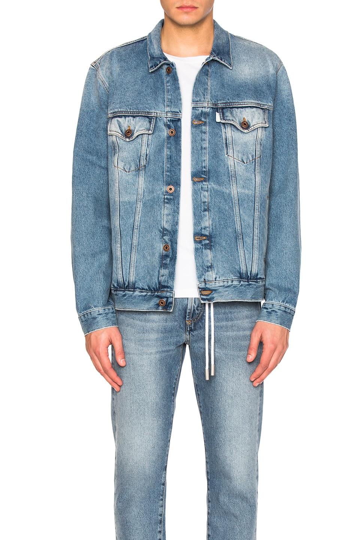 43962d9e0 OFF-WHITE Diagonal Spray Denim Jacket in Vintage Wash & White | FWRD