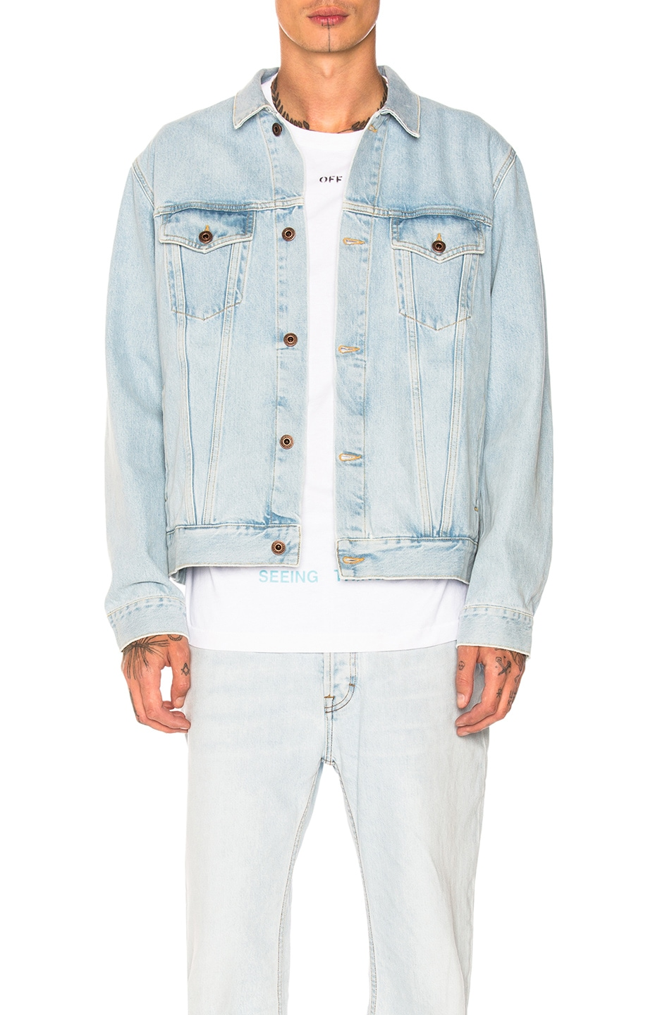 1ff3854b59e9 Image 2 of OFF-WHITE Not Real Angel Oversized Denim Jacket in Bleach Multi