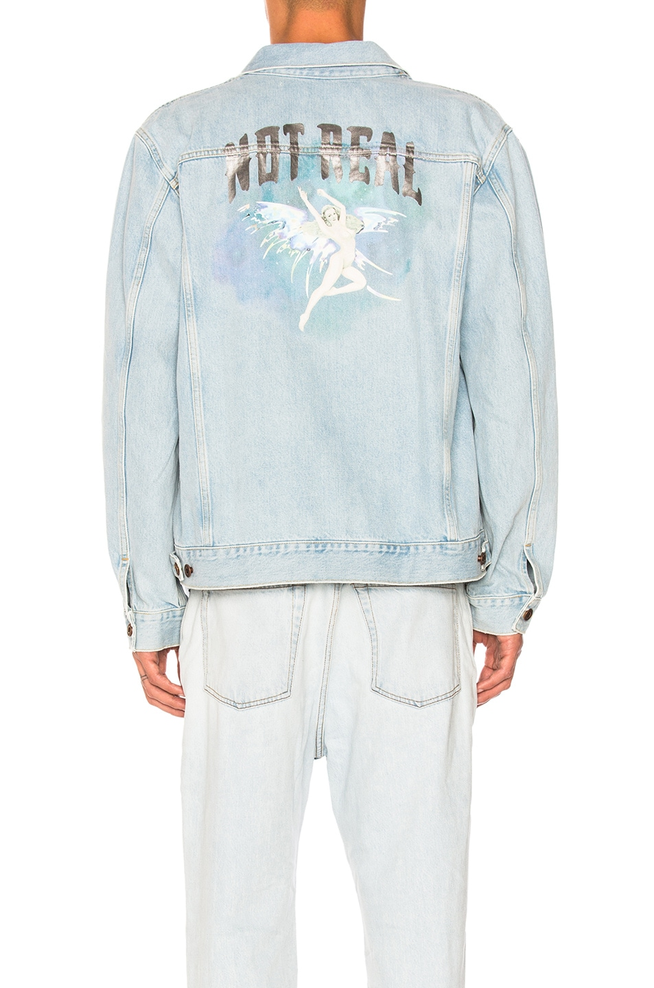 9f134f8a772f Image 4 of OFF-WHITE Not Real Angel Oversized Denim Jacket in Bleach Multi