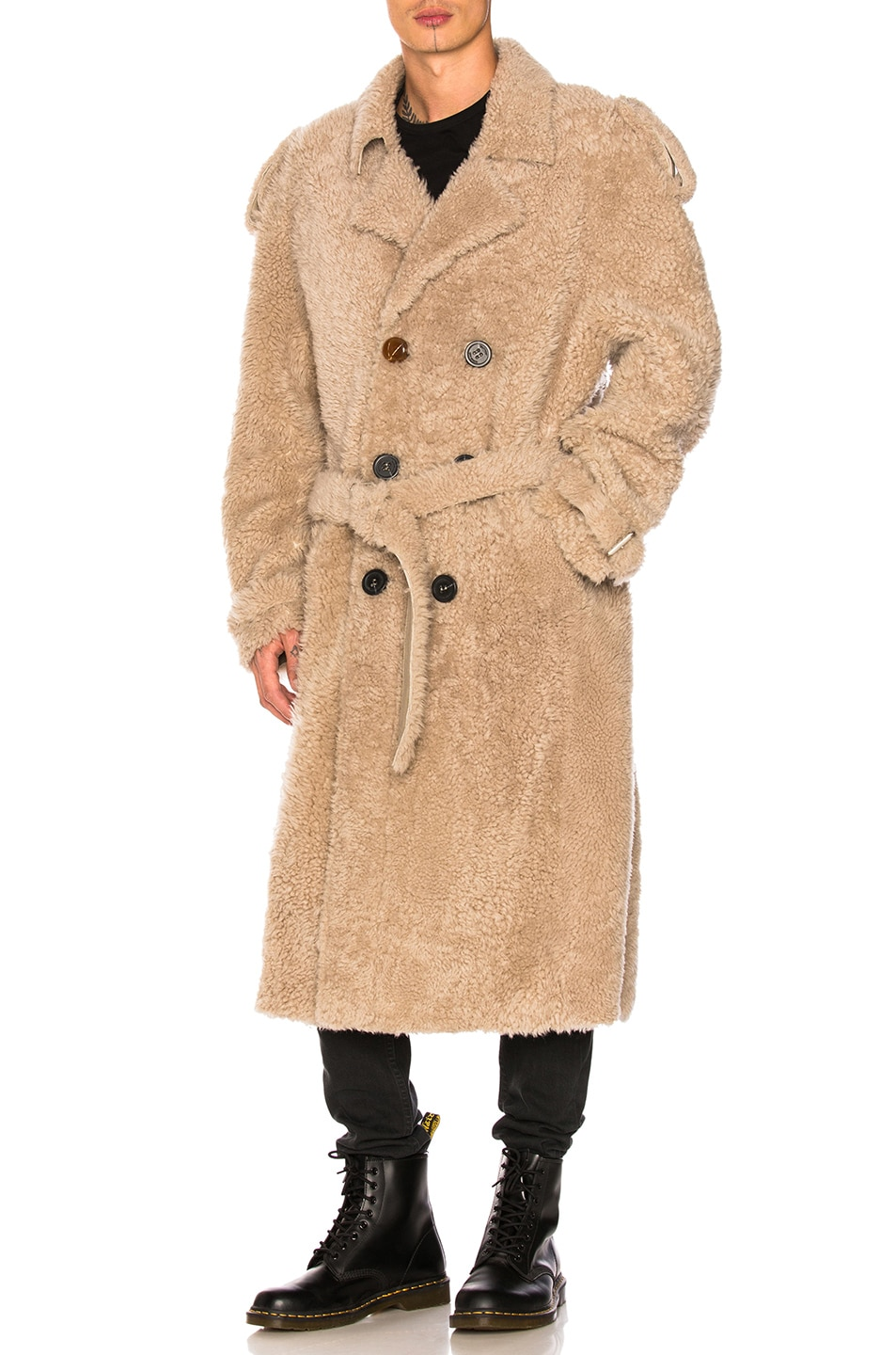 Image 1 of OFF-WHITE Shearling Trench Coat in Beige