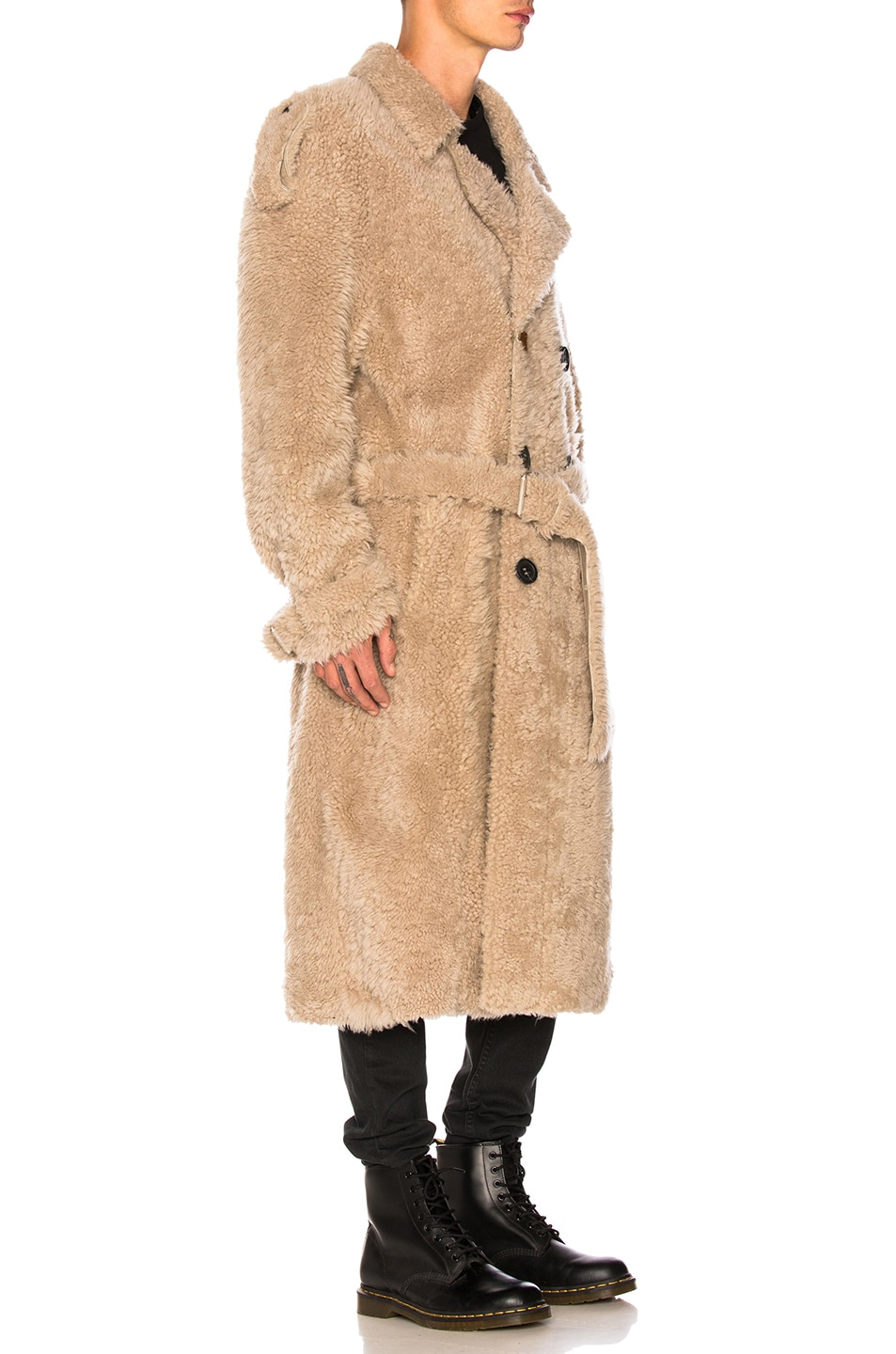 Image 3 of OFF-WHITE Shearling Trench Coat in Beige