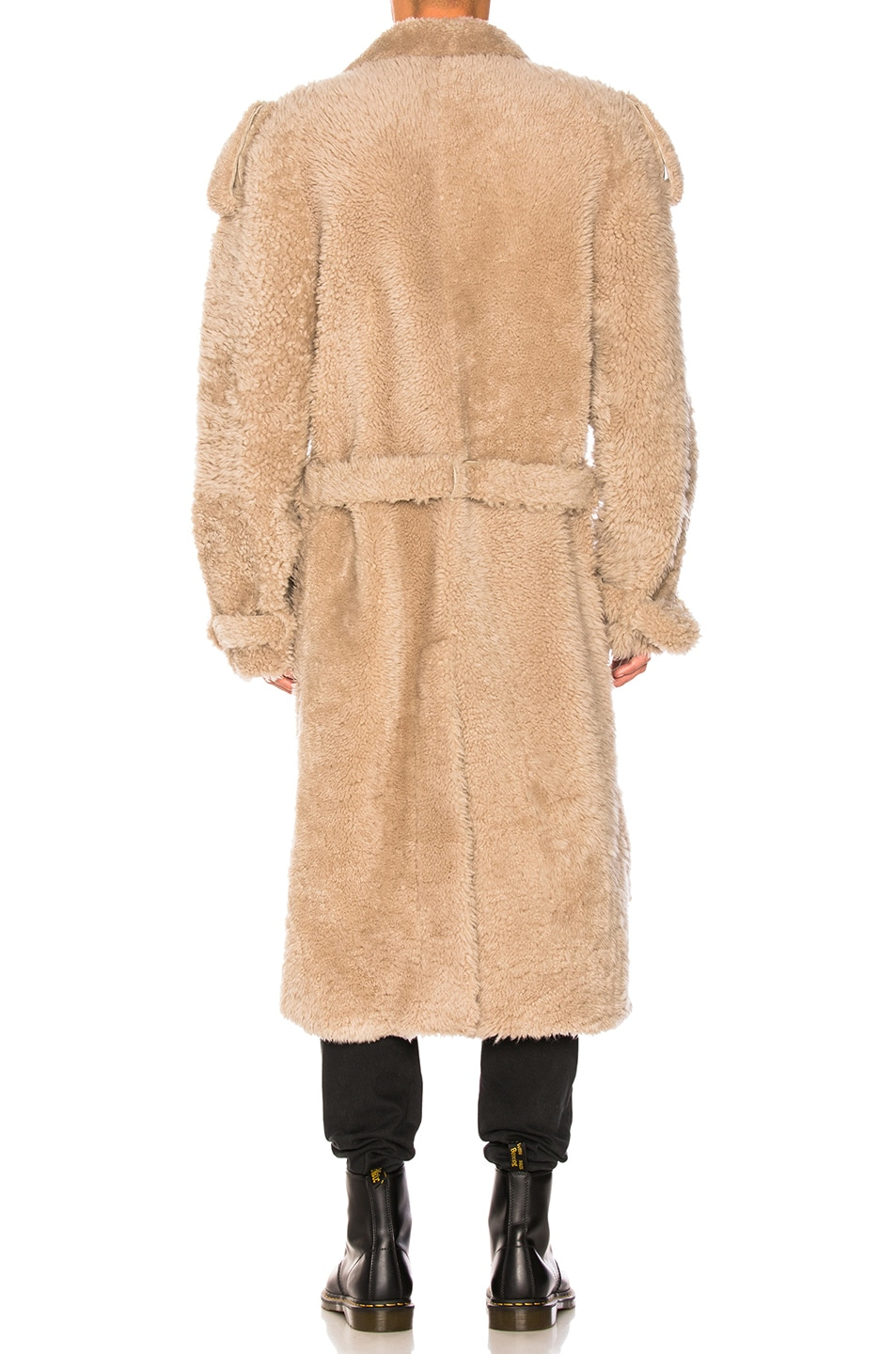 Image 4 of OFF-WHITE Shearling Trench Coat in Beige