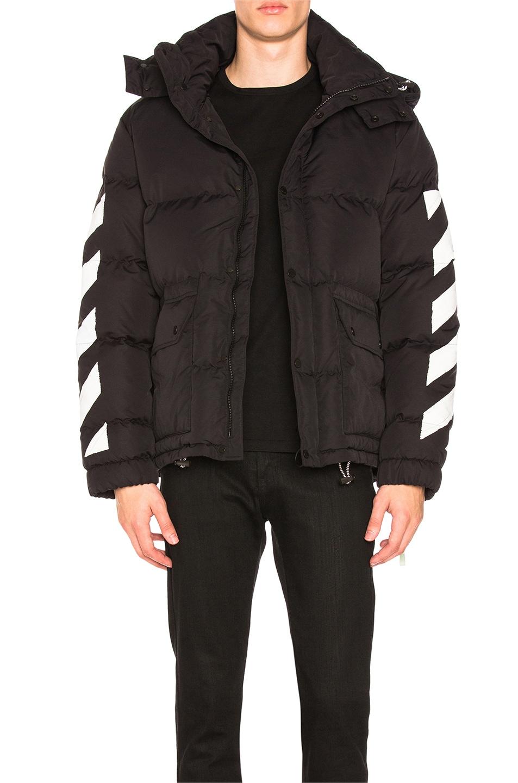 db786a756 OFF-WHITE Diagonal Brushed Down Jacket in Black & White | FWRD