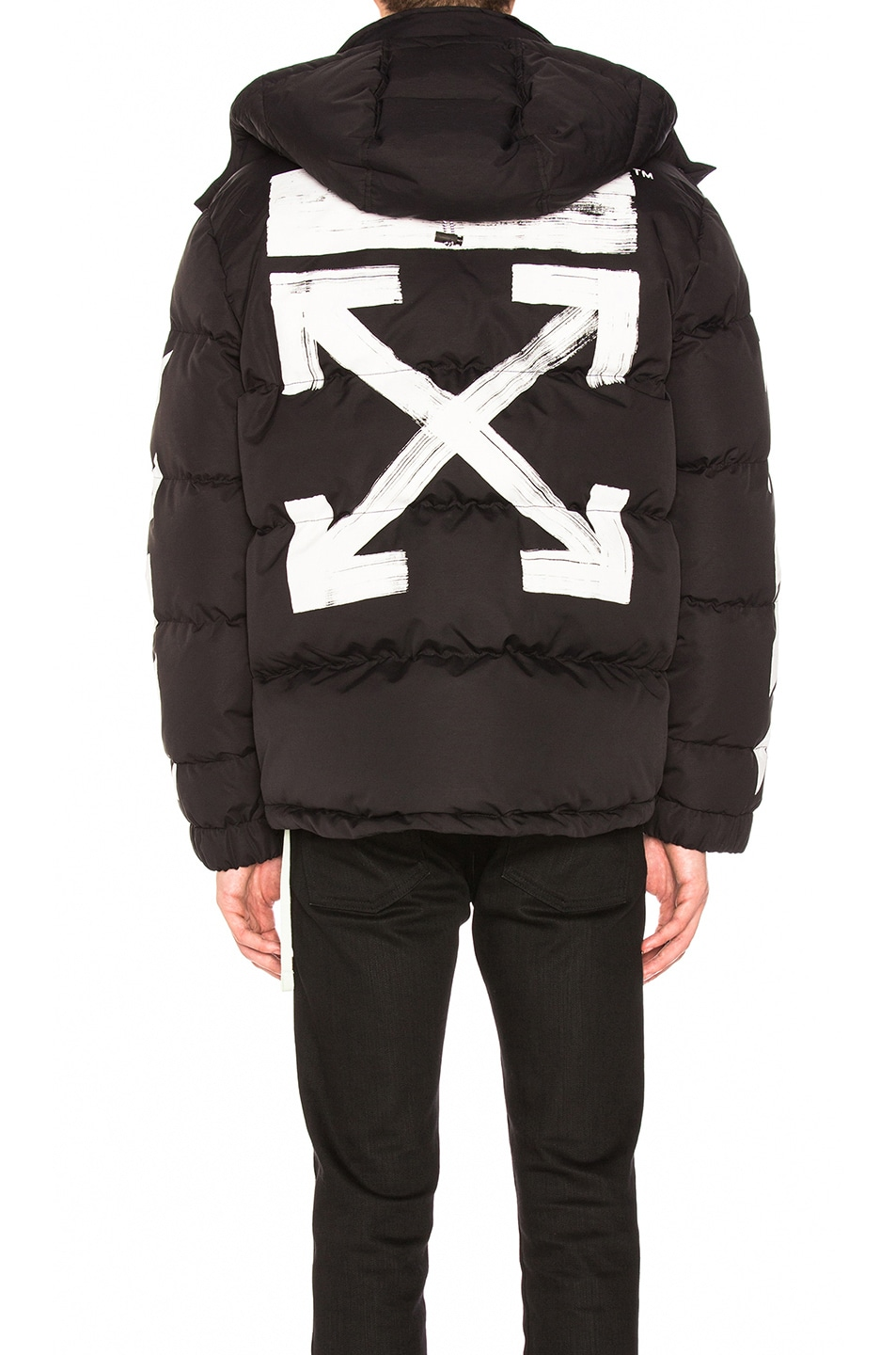 Image 4 of OFF-WHITE Diagonal Brushed Down Jacket in Black   White 3bca093137db