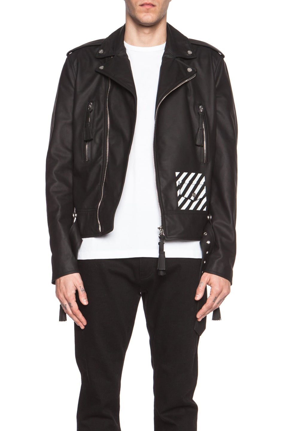 6f13cfbeb OFF-WHITE New White Leather Biker Jacket in Black | FWRD
