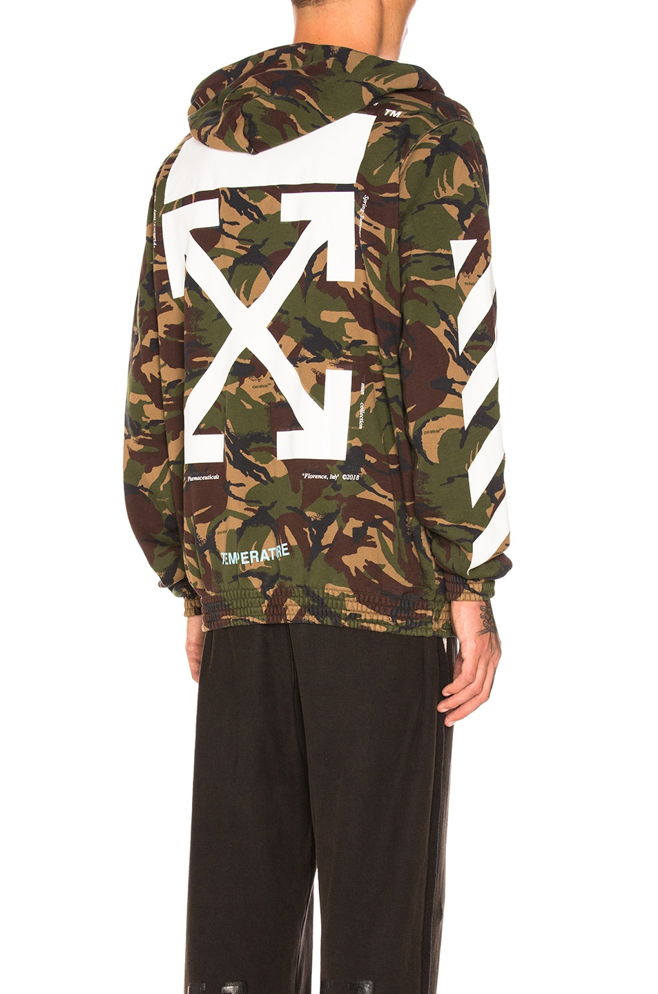 Off White Zipped Hoodie In Camouflage Fwrd