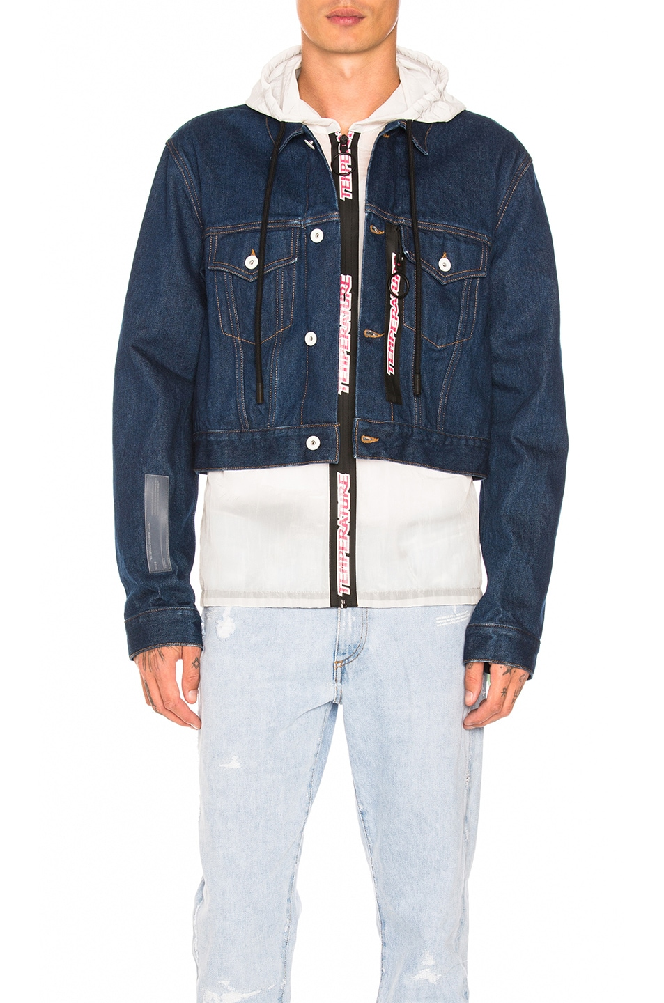 Off-White  OFF-WHITE NO WASH CROPPED HOODED JACKET IN BLUE